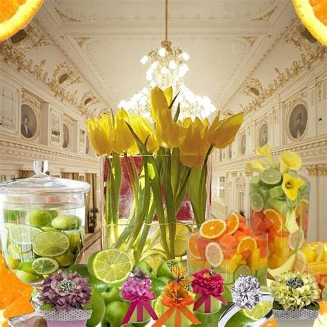 Wedding Table Fruit Decoration.   Floral Arranging with