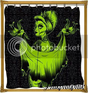Fabric Shower Curtain Tattoo
