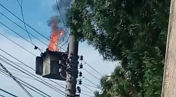Transformador pega fogo e deixa moradores da Velha sem energia elétrica
