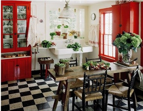 red, black, and white country kitchen   For the Home   Pinterest