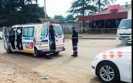 A Netcare vehicle pictured outside a Shoprite Usave supermarket in Sebokeng after two security guards were shot in a robbery on 8 May 2017. Picture: Twitter/@Netcare_911.