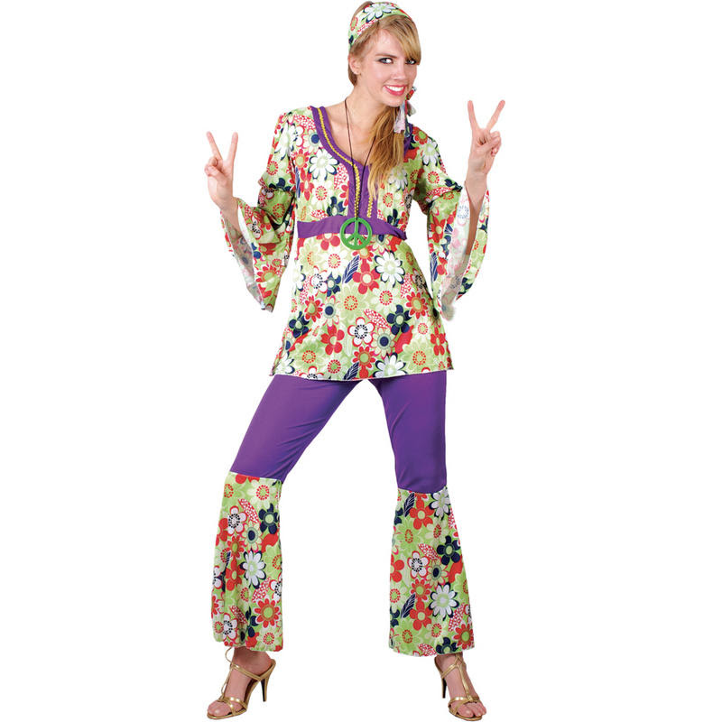 womens hippie chick woodstock festival flower power fancy