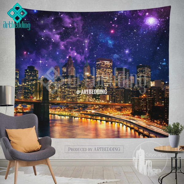 New York Wall Tapestry Brooklyn Bridge At Night Wall