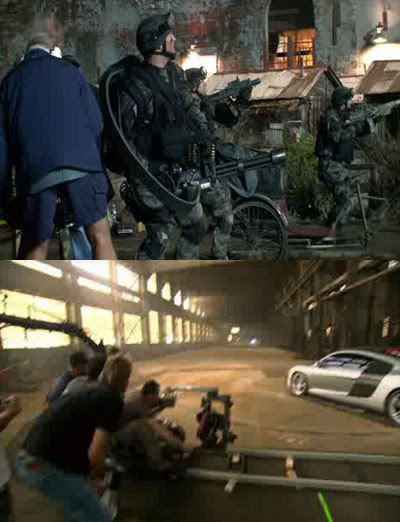 TOP PIC: Military troops prepare to take on an unseen Decepticon.  BOTTOM PIC: Michael Bay films an Audi R8 in action.