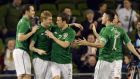 John O'Shea, James McClean, Séamus Coleman  and Robbie Keane celebrate after Keane's goal for the Republic of Ireland in last night's friendly international against Latvia at the Aviva Stadium. Photograph:  Alan Betson/The Irish Times
