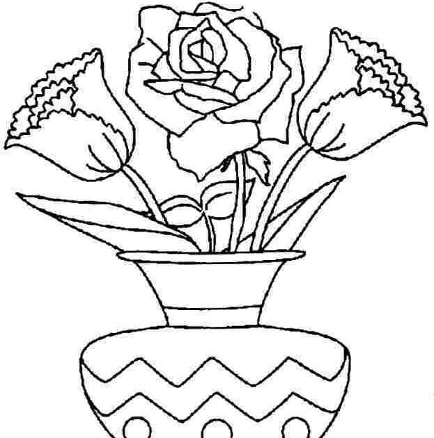 Paling Baru Sketsa Gambar Bunga Mawar Dan Potnya Asiabateav