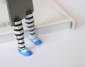 Alice in Wonderland. Unusual art bookmark. Legs in blue shoes. Funny handmade gift. Easter children gift - MyBookmark