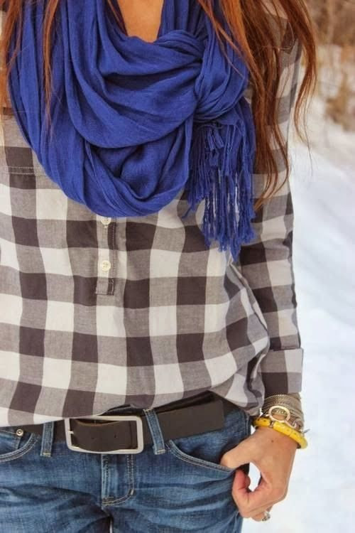 Decent check shirt with denim jeans and royal blue scarf