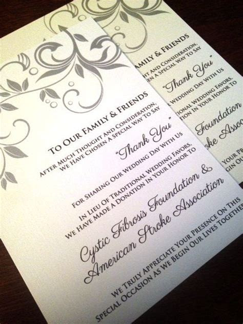 Wedding Donation Cards In Lieu Of a Favor by
