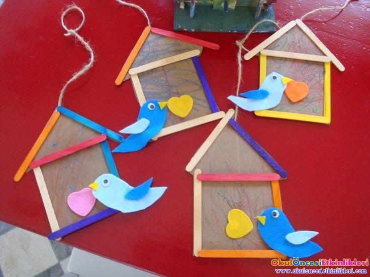 Dondurma çubuğu Ile Kuş Kafesi Ve Kuş Yapımı Okul öncesi