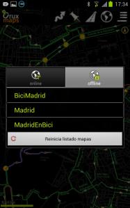 Listado de mapas off-line