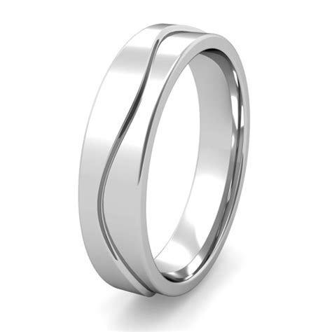 Unique Mens Wedding Band Wave Design Wedding Ring in Gold