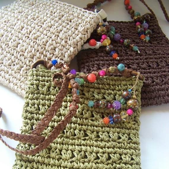 Decorate your own! Shoulder Bag  Straw - Bead Ornaments for Accent - Assorted colors from Suzie M. designs, $16.95 on ETSY