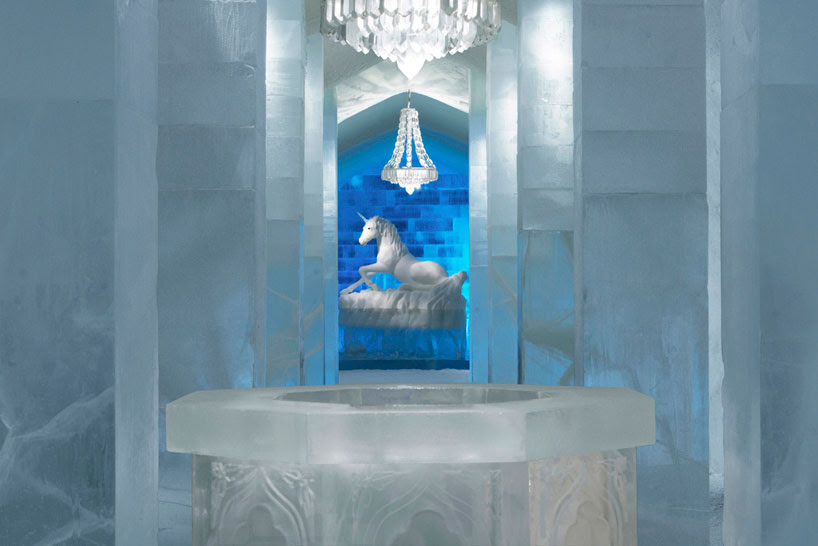 swedish icehotel has secret garden carved into its main hall
