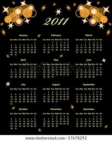 2011 calendar black