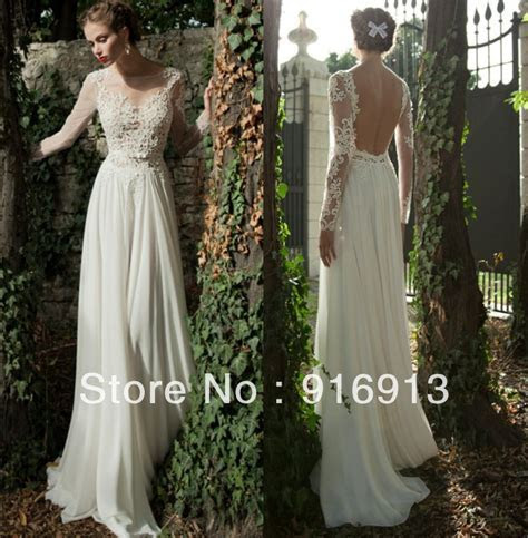 Bateau A line Backless Wedding Dress Sheer Sleeve Applique