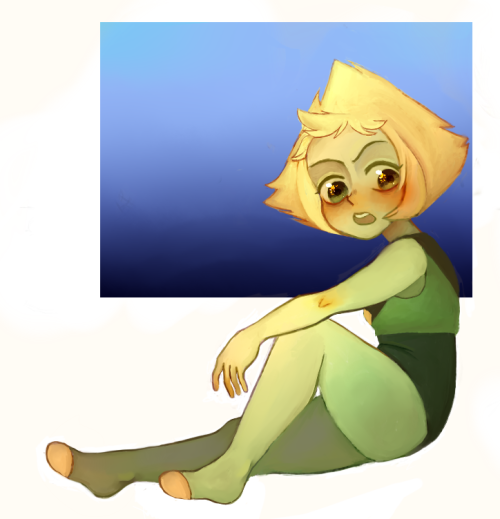 Peridot again ( ´ ▽ ` )ノ there was supposed to be a pretty background with stars and shit but i got lazy lmao (i also just realized i forgot her gem…gonna edit that later oops)