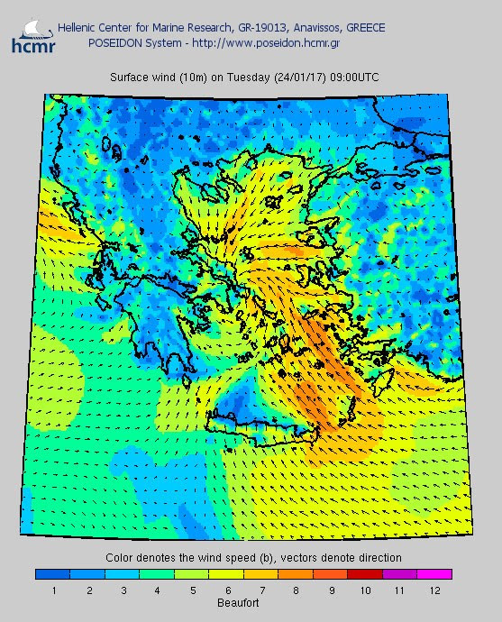Το χρώμα δηλώνει την ένταση του ανέμου στην κλίμακα Μποφόρ (πρωί Τρίτης)