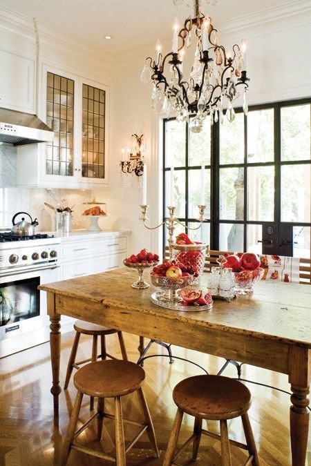 {New appliances and cabinets are balanced by a weathered table and stools in this cozy kitchen.  Image via Pinterest.}