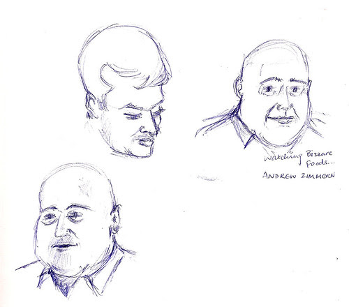Faces drawn while watching Bizarre Foods