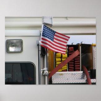 Patriotic Fire Truck print
