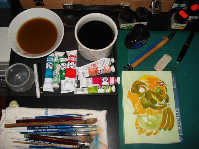 Na mesa de trabalho > On the work-table