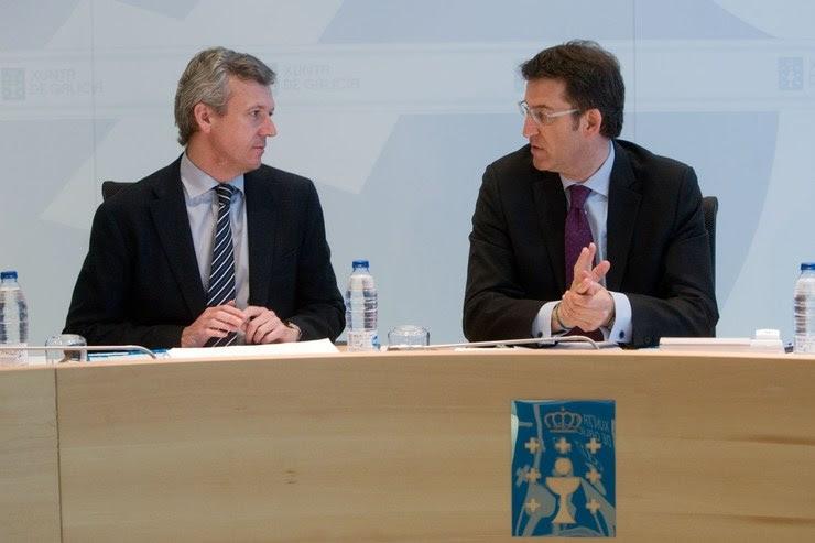 Alfonso Rueda e Alberto Núñez Feijóo no Consello da Xunta