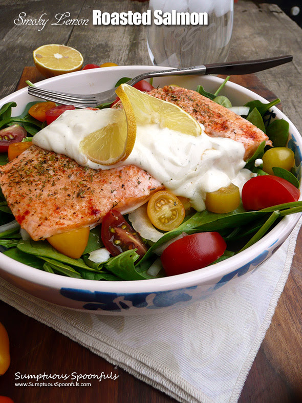 Smoky Lemon Roasted Salmon with Lemon Tahini Yogurt Sauce