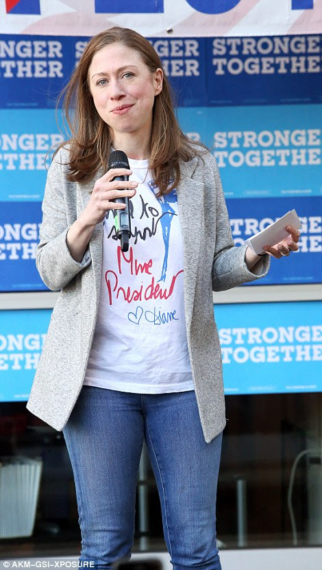 Campaign: Chelsea Clinton yesterday