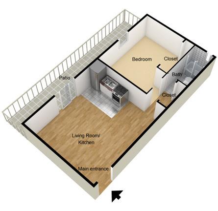 1 Bedroom Apartments 1 Bedroom Studio Apartment Floor Plan