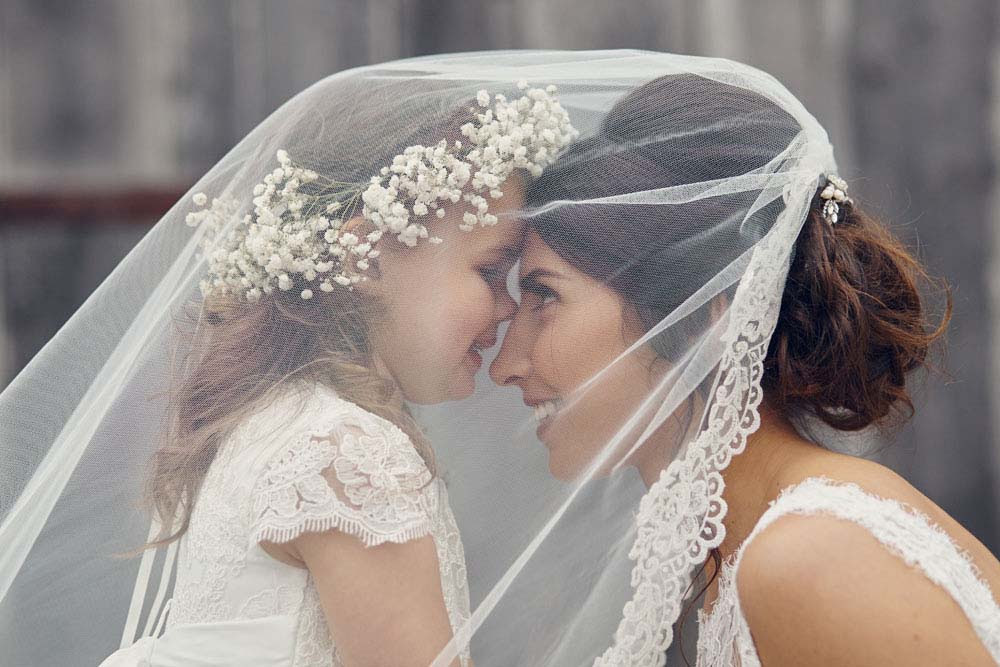 Bride and Flower Girl under veil - www.helloromance.co.uk
