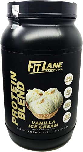 Best 2020 - Anytime Protein Powder for Men and Women. Best Tasting Low Carb Whey-Casein Protein Shake. Protein Blend by Fit Lane Nutrition Net Weight 1320 G, 2.9 LB, 30 Servings, Vanilla Flavor