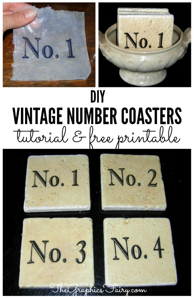 Craft Project - Vintage Number Coasters  //  The Graphics Fairy