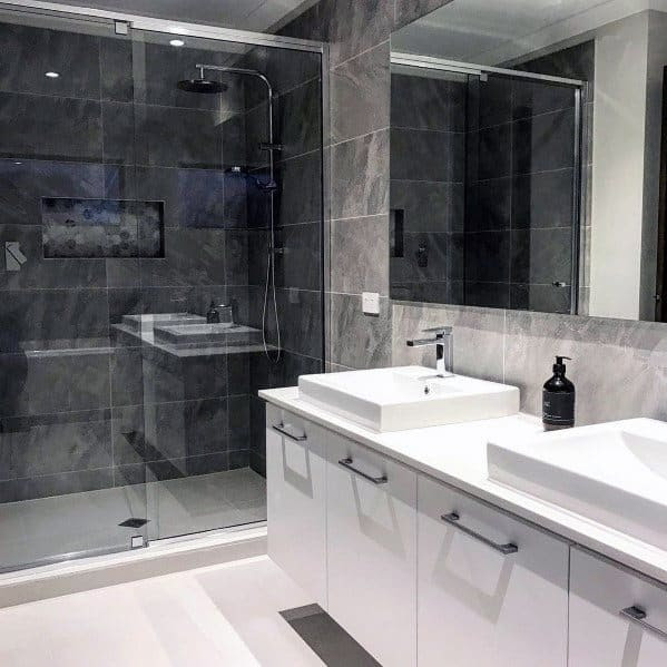 Top 60 Best Grey Bathroom Tile Ideas - Neutral Interior ...