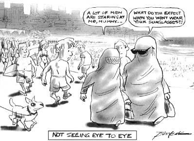 Beach bunnies in burqas
