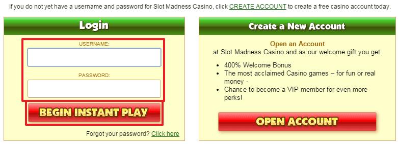 Slot madness casino login
