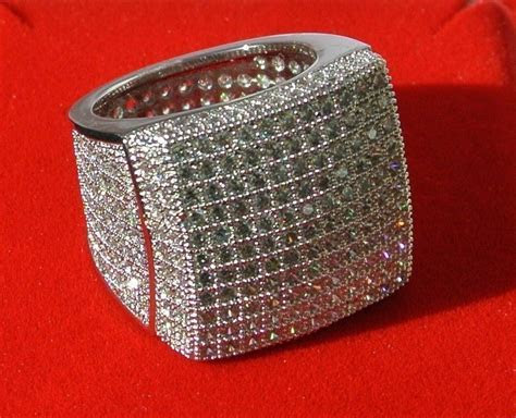 Mens White Gold Finish Pave Iced Out Lab Diamond Wedding