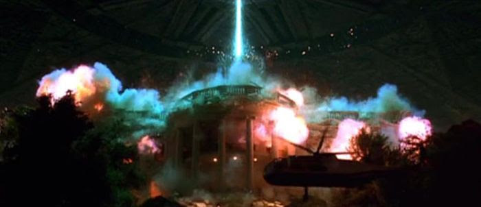 The White House is destroyed by an alien destroyer in INDEPENDENCE DAY.