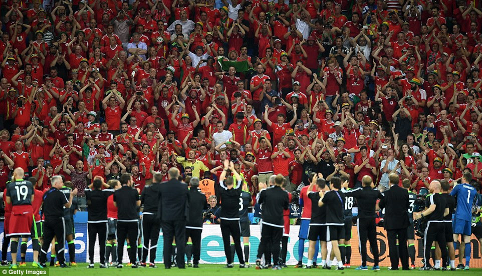 The Wales supporters in Lyon stayed behind after full-time to show their appreciation to their players for the efforts