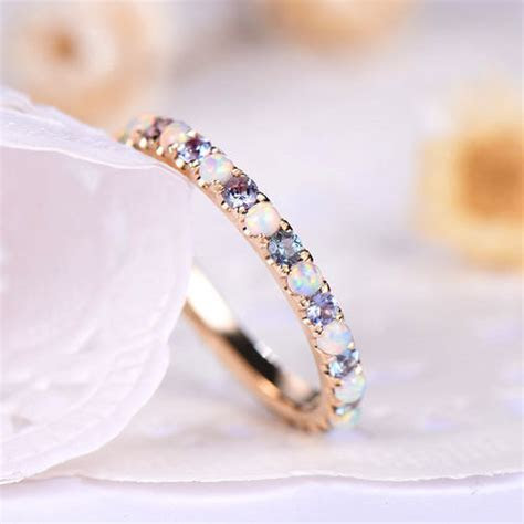 Custom make opal wedding band to HALF eternity yellow gold