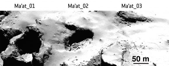 Las oquedades de la región de Ma'at. Imagen de OSIRIS del 1 de julio de 2015 a 28 km de distancia (ESA/Rosetta/MPS for OSIRIS Team MPS/UPD/LAM/IAA/SSO/INTA/UPM/DASP/IDA).