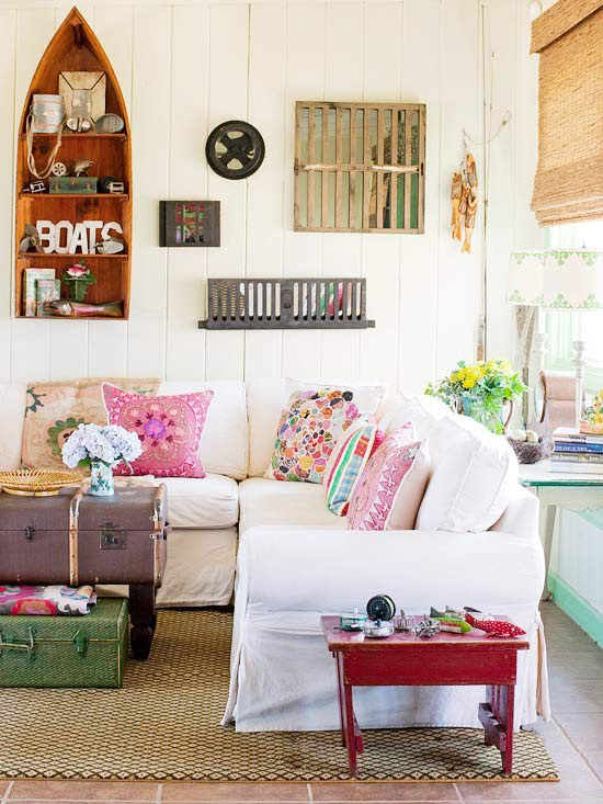 vintage, eclectic living room