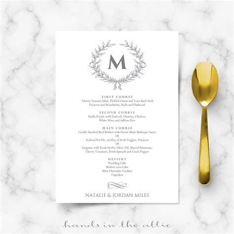 Elegant Wedding Food Menu Template   Wedding Menu Cards