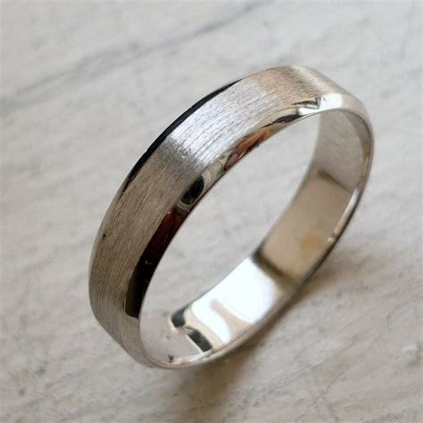 5mm 14K SOLID WHITE GOLD MEN'S WEDDING ANNIVERSARY BAND