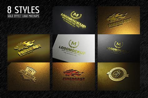 8 Styles Gold Effect Logo Mock ups ~ Product Mockups on