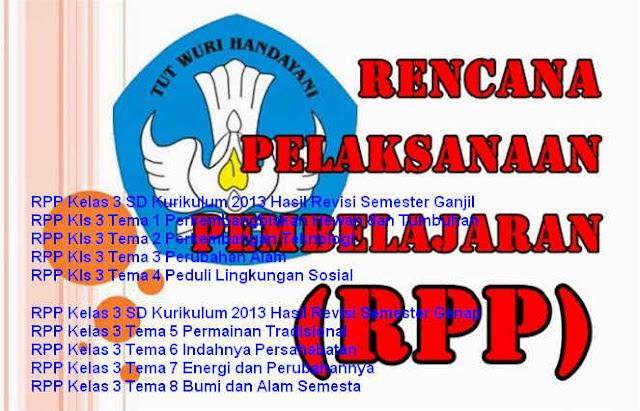 Download RPP Kurikulum 2013 Kelas 3 SD Hasil Revisi Tema 1 dan 2 Lengkap