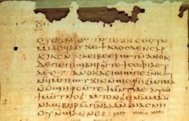 antigos, originários da cultura judaica no primeiro e segundo século dC. Retratado é um fragmento da biblioteca de Nag Hammadi