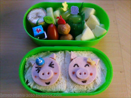 oink, oink two funny Piggies in a Bento