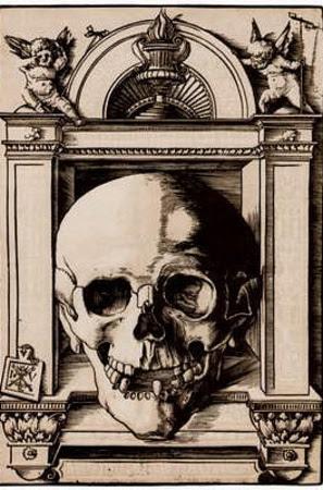 Hans Wechtlin (Skull in a Renaissance context) Art Poster Print Impressão de alta qualidade