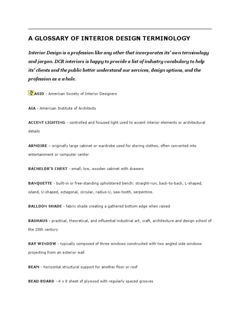 A Glossary of Interior Design Terminology  DocShare.tips